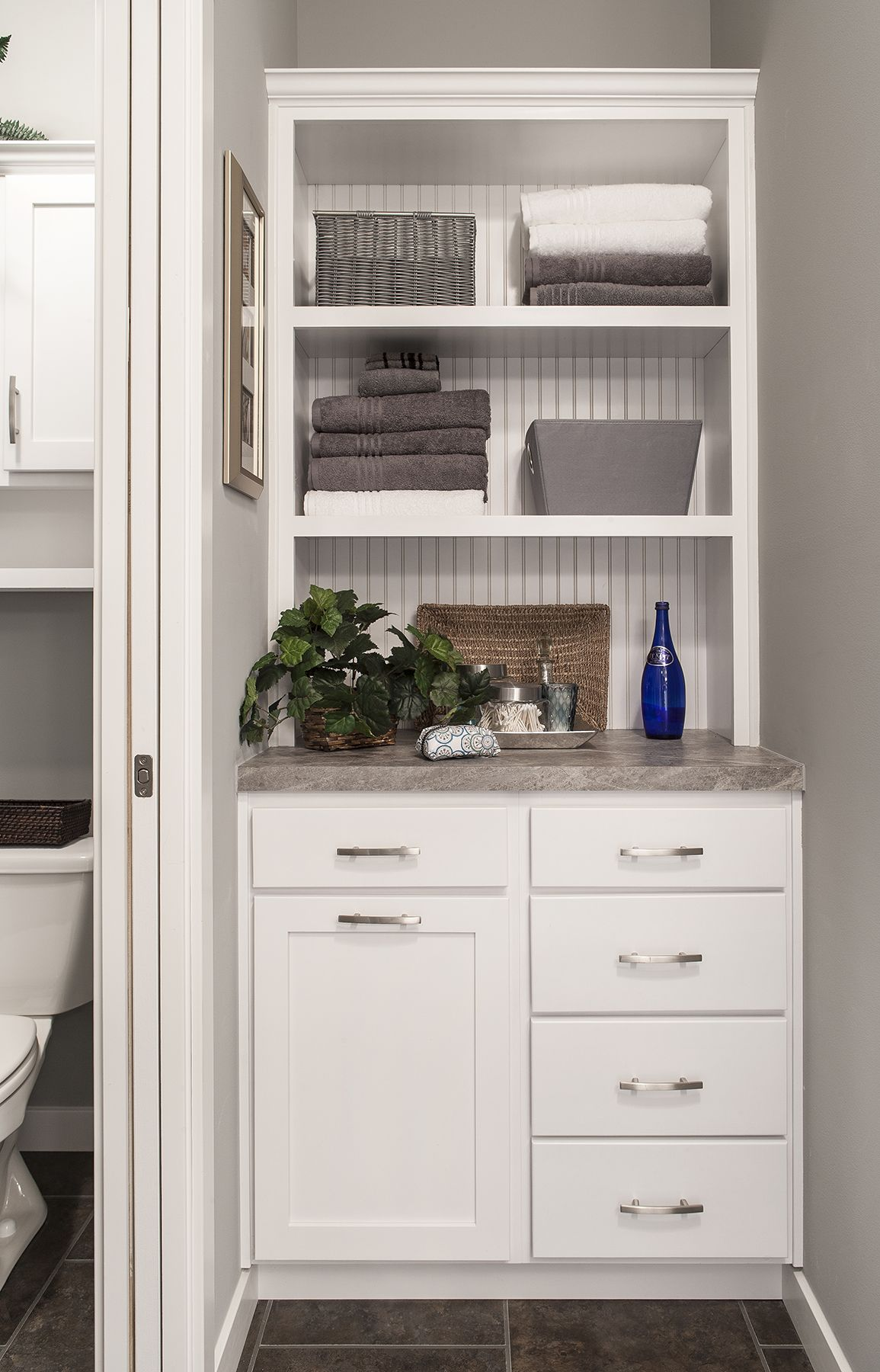 Spa Cabinet Tower in the Master Bath Bottom left cabinet front is a