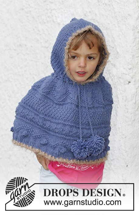Hermione / DROPS Children 23-47 - Knitted DROPS poncho with textured ...