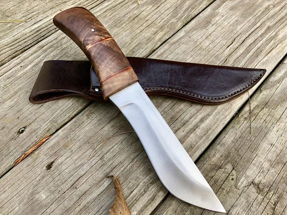 This Large Camp Knife Is Made From 1095 High Carbon Steel And Stabilized Curly Figured American Wa Knife Camp Knife High Carbon Steel