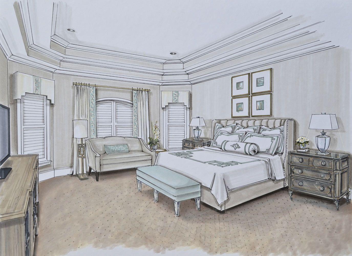 edgewaybedroomdesignsketch Luxe bedroom, Bedroom