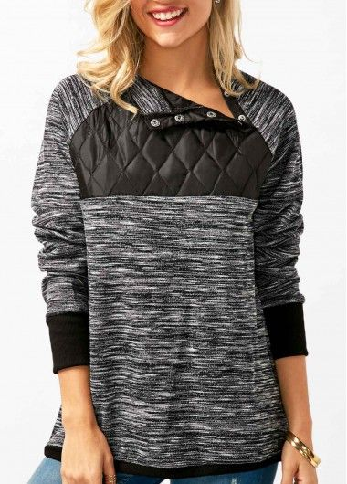 cd659dcdb559 High Neck Patchwork Grey Long Sleeve Blouse on sale only US 31.11 ...