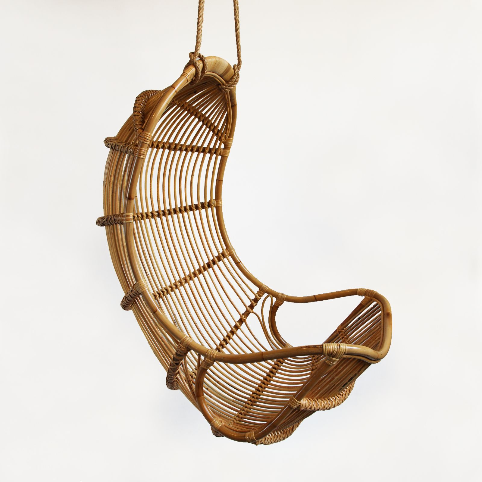 Natural Bamboo Hanging Scoop Chair Includes 60 Of Hanging Rope