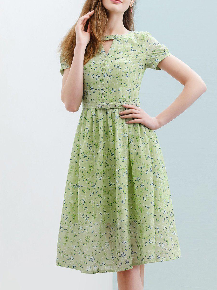 Adorewe stylewe midi dressesdesigner wifing green cotton aline