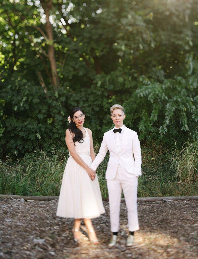 Stylish Brooklyn Distillery Wedding Blake Mackenzie Lesbian