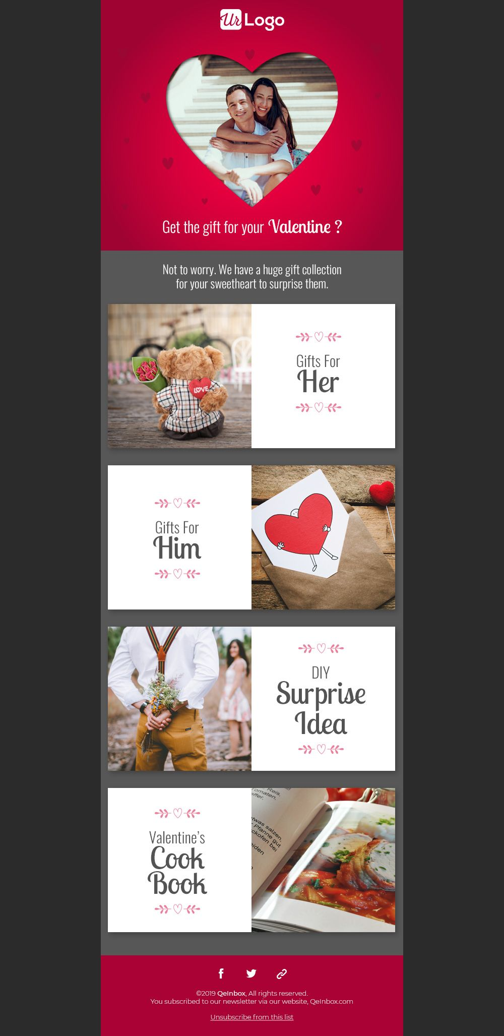 Valentine S Day Email Templates In 2020 Free Email Templates Email Templates Free Responsive Email Templates