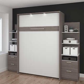 Cielo Full Wall Bed In Gray With Two Side Storage Towers Murphy