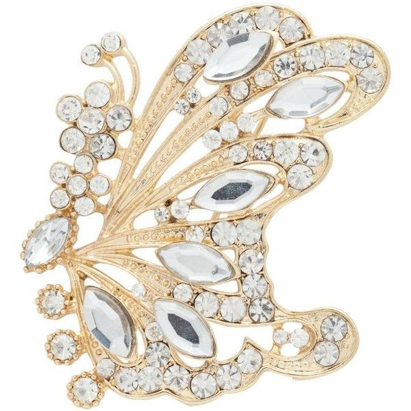 Gold And Crystal Butterfly Brooch ($13) ❤ liked on Polyvore