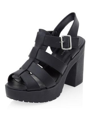4d73225f3 Black Chunky Gladiator Block Heels