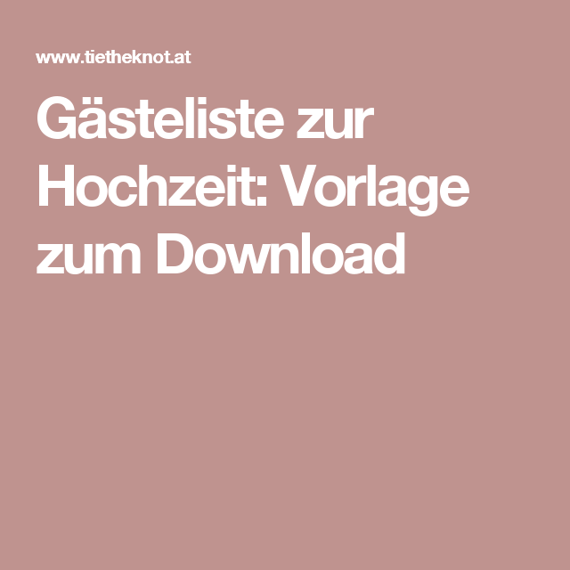 Gästeliste zur Hochzeit: Kostenlose Vorlage zum Download | Zur ...