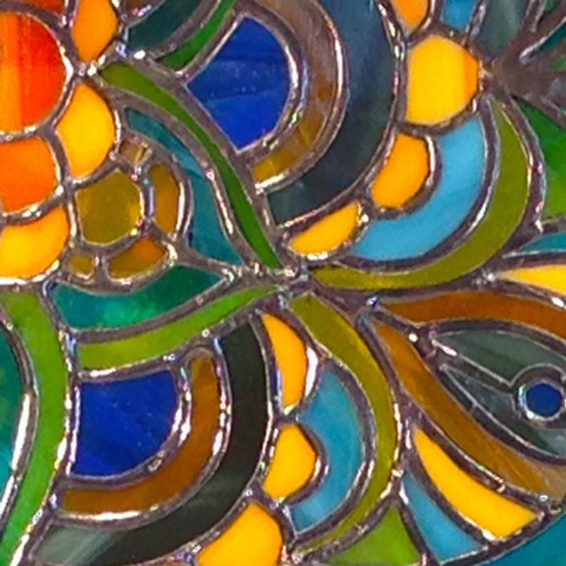 Zen Stained Glass Panel 12x12 Etsy In 2020 Stained Glass Stained Glass Panel Glass Panels