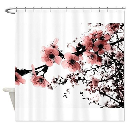 Pretty Cherry Blossom Shower Curtain Fabric Shower Curtains Fabric Decor Flower Shower Curtain