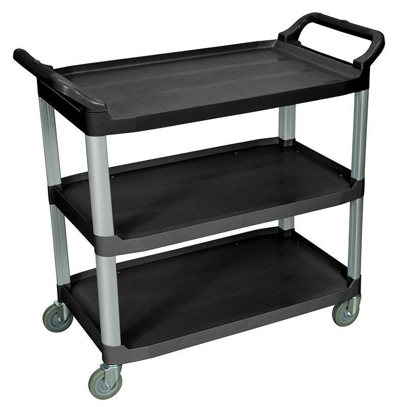 Luxor SC13-B Luxor Large 3 Shelf Black Serving Cart