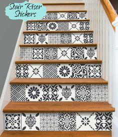stair riser vinyl strips removable sticker peel stick for 15 steps wmix2 patchwork deco. Black Bedroom Furniture Sets. Home Design Ideas