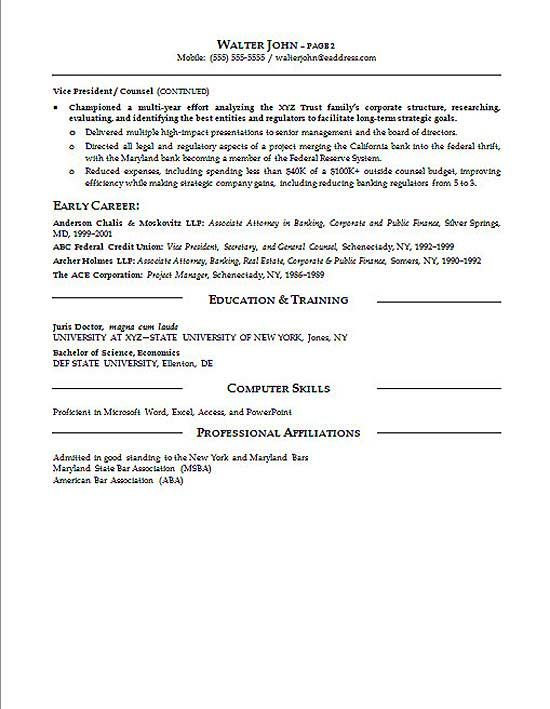 general counsel resume cover letter