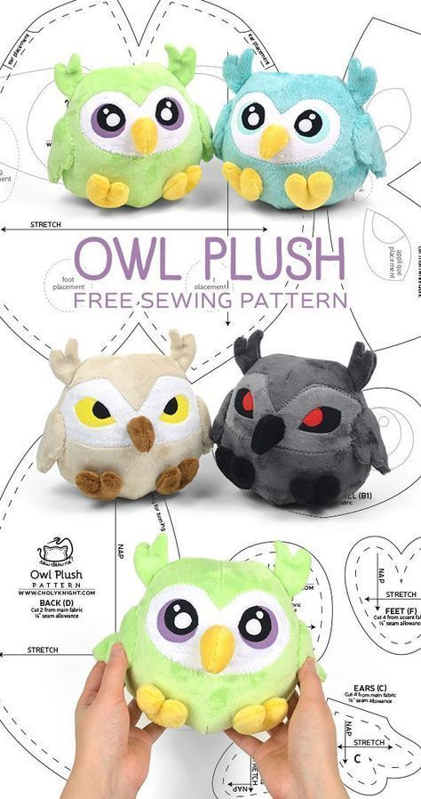 notice the cute feet Interesting eyes on the tan and gray ones    Owl plush free PDF pattern As you begin your sewing journey you can learn how to sew by making many mist...