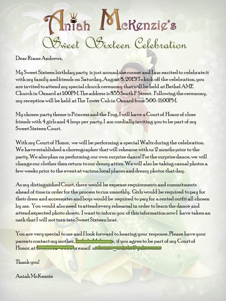 Princess and the Frog Sweet 16 Court of Honor invite letter - event invitation letter template
