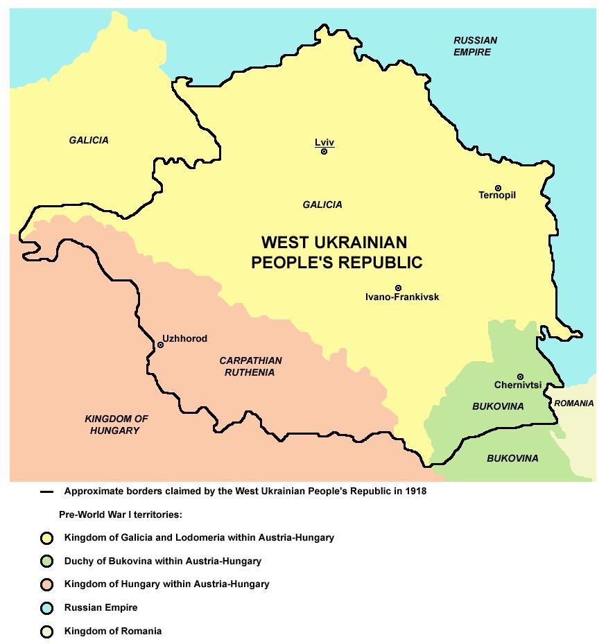 West Ukrainian Peoples Republic Russian Revolution Maps - Peoples republic map