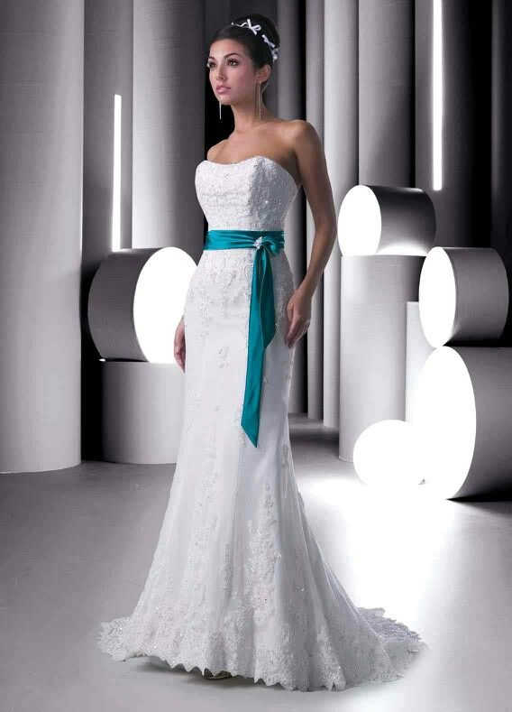White Wedding Dress With Turquoise Sash With Images Colored