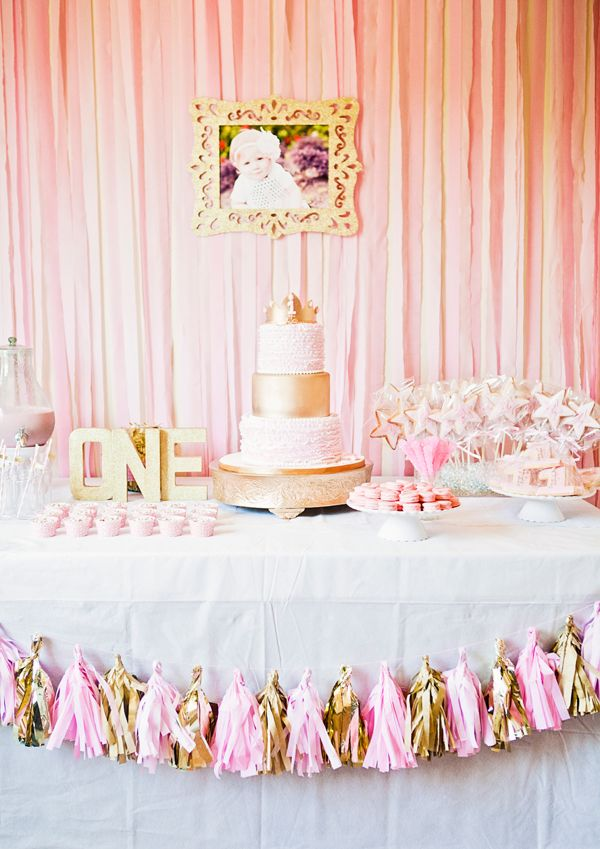 Sweet Pink And Gold First Birthday Party Fit For A Princess