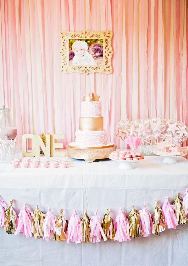 Pink and gold princess party Aviana is 1 Princess Birthdays