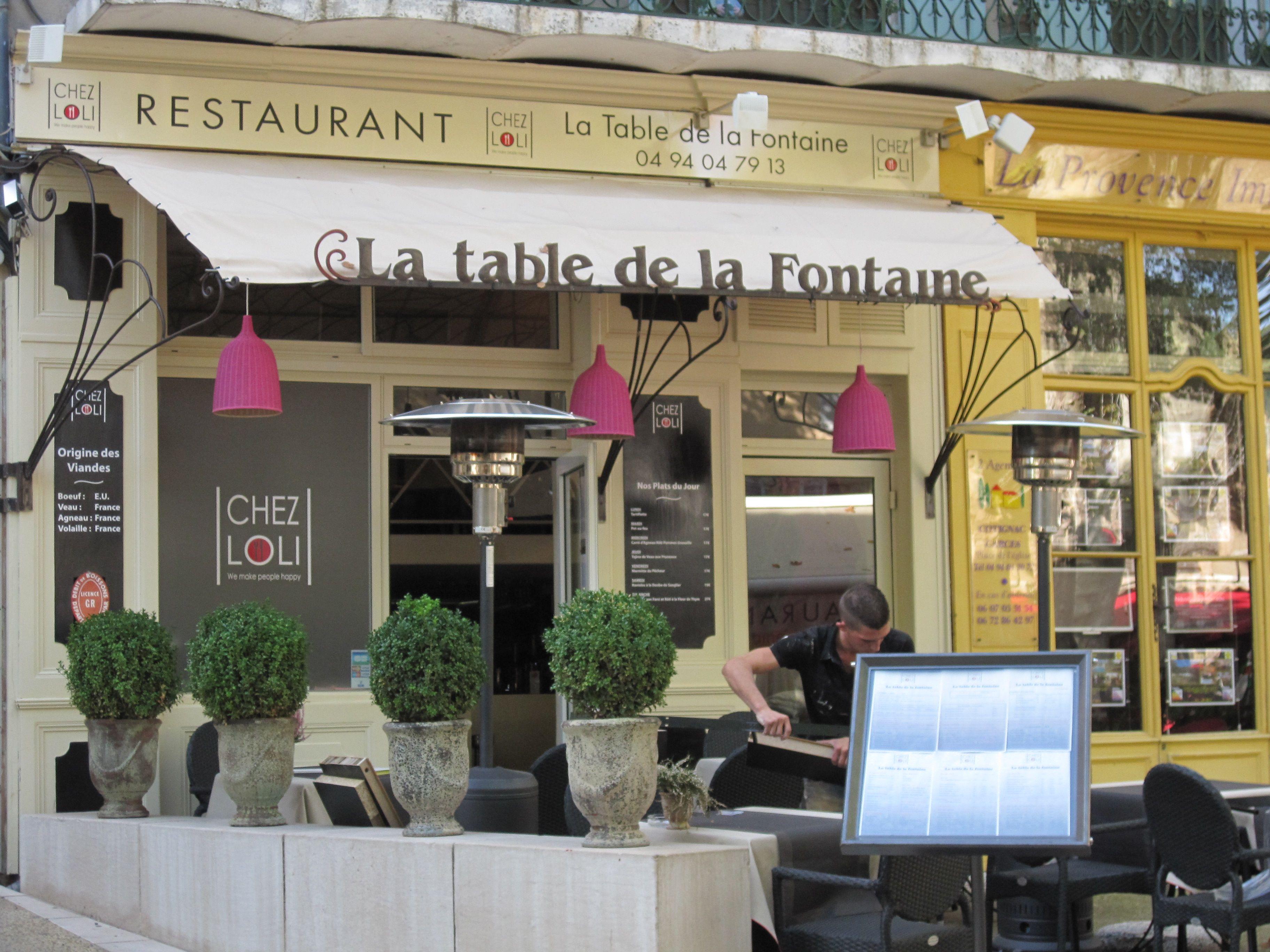 La Table De La Fontaine Cotignac Table Les Fontaines Restaurant