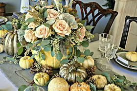 Serendipity Refined Blog: Rustic Gray and White (and Pink) Thanksgiving Table Decor #thanksgivingtablesettings