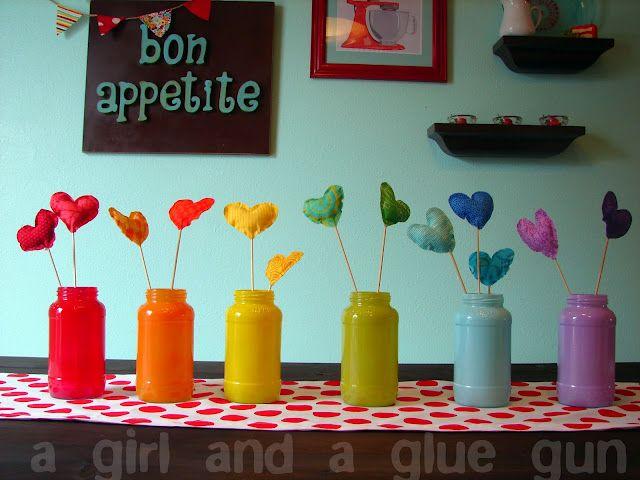 Cute painted mason jars from A girl and a glue gun. #paint #jar