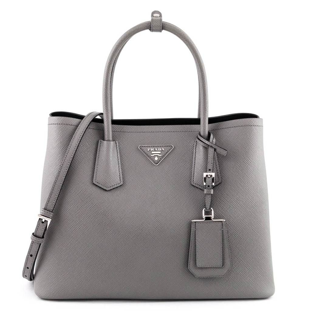 Photo of Prada Marmo Gray Saffiano Double Medium Bag