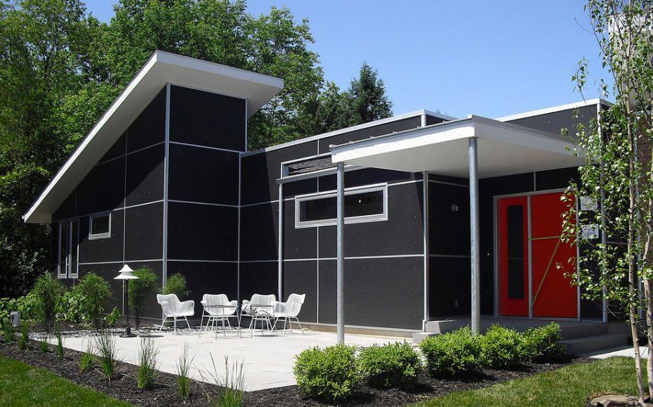 Dark gray red white modern house