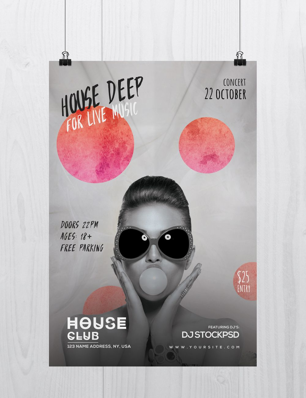 House Deep Live is a Free PSD Photoshop Flyer Template to download ...