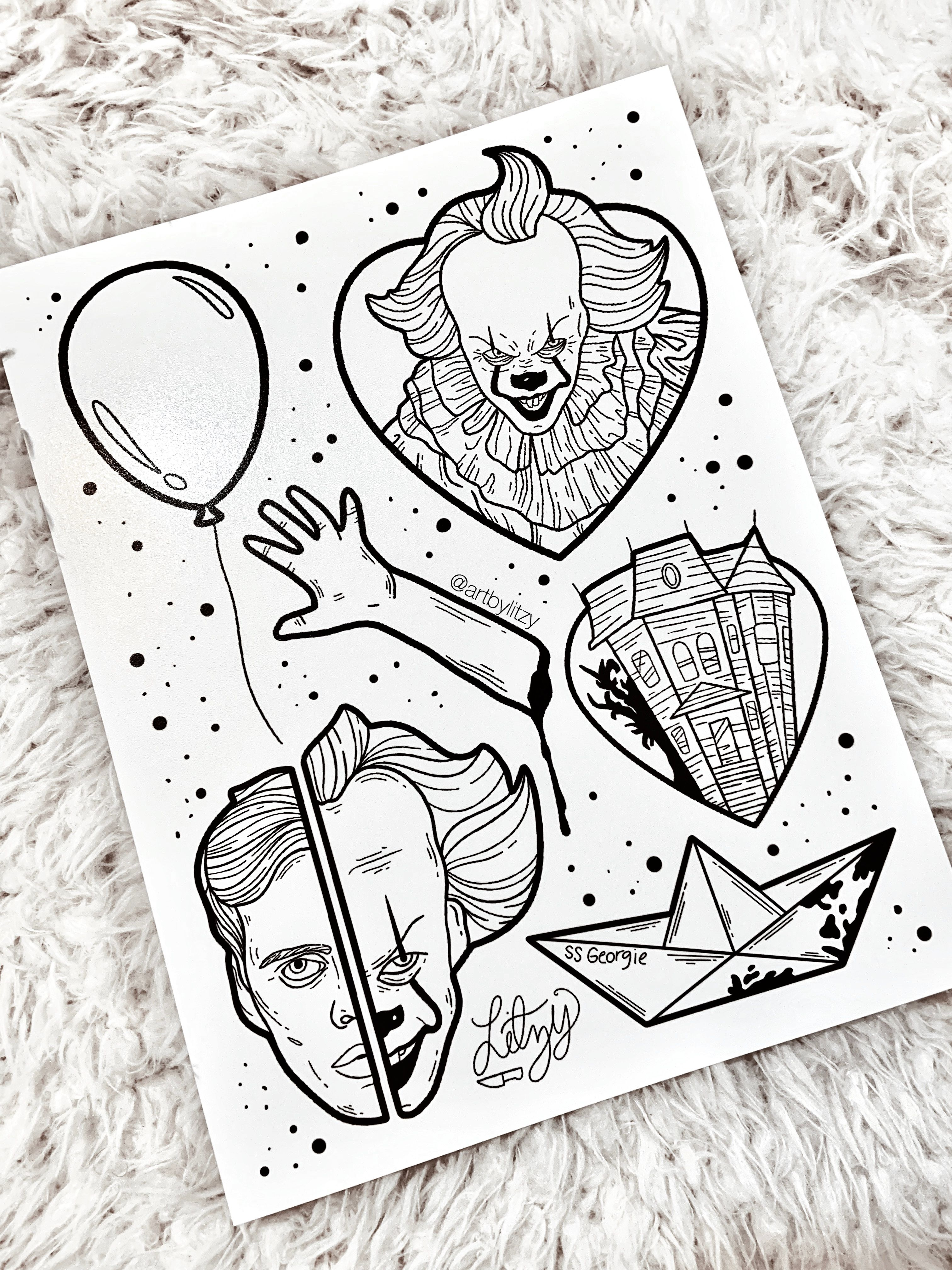 Pennywise It Designs Artbylitzy Halloween Tattoo Flash Halloween Tattoos Movie Tattoos