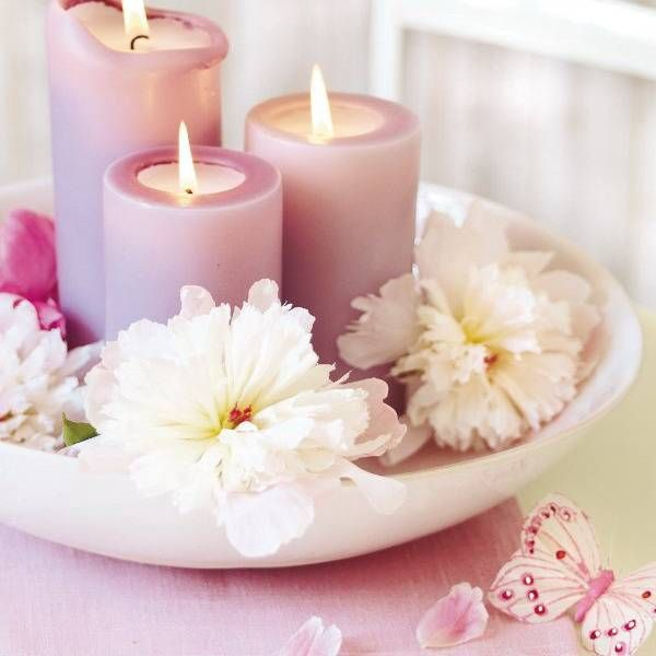Floral candles centerpieces with peony flowers glass