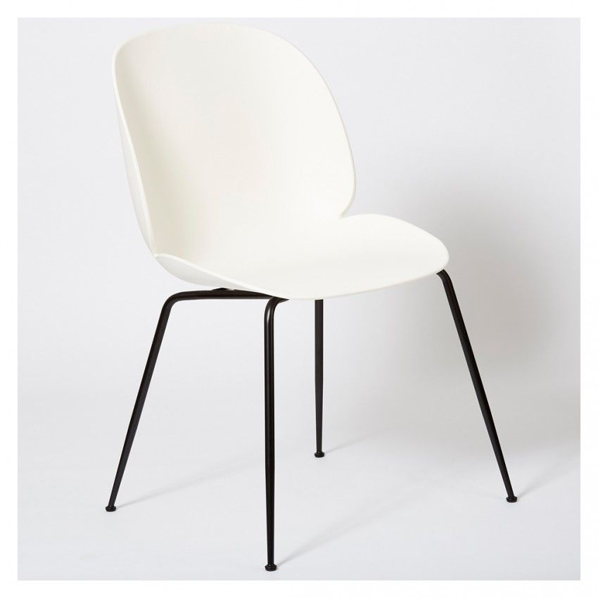 Beetle Dining Chair Un Upholstered White With Black Legs Black