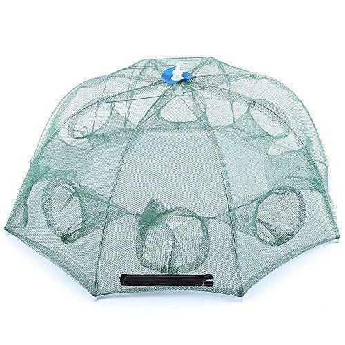 8Holes Magic Fishing Trap Netting Full Automatic Folding Shrimp Cage Fish Net US