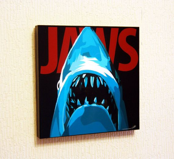 Laminated Pop Art Picture Jaws Wall Decor Wall Art Pop Art Pictures Art Art Pictures
