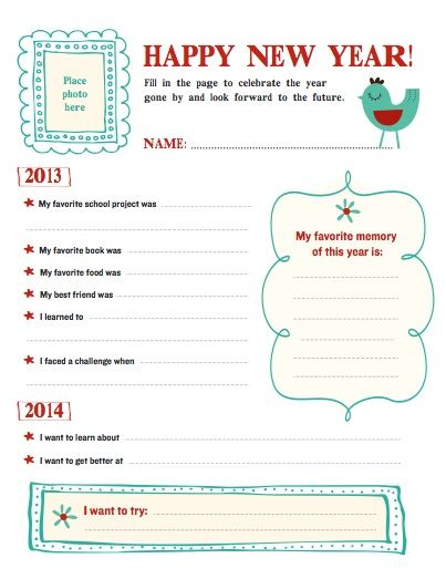 printable new years resolution template ages 6 10 writingliteracylanguage arts