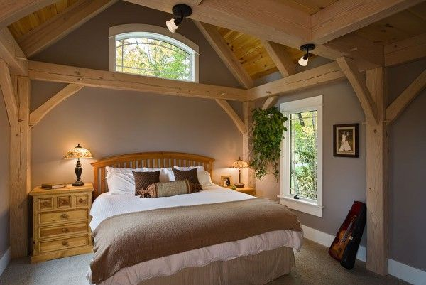 Bedroom Photo In A Pre-designed Woodhouse Timberframe Home
