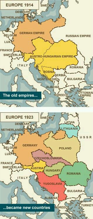 Map Comparing Europe 1914 With Europe 1923 Showing Old Empires Becoming New  Countries/ Via Bbc.hoping To Somehow Find My Maternal Great Grandmother But  She ...