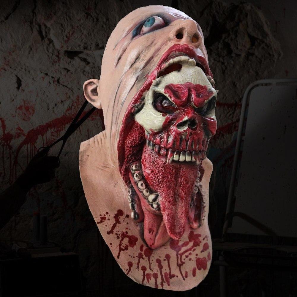 Skull Ripping Through Zombie Skin Halloween Mask fashion