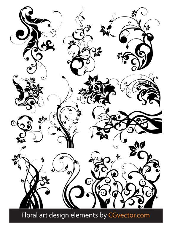 Floral Design Tree | free vectors graphics - Floral art design elements
