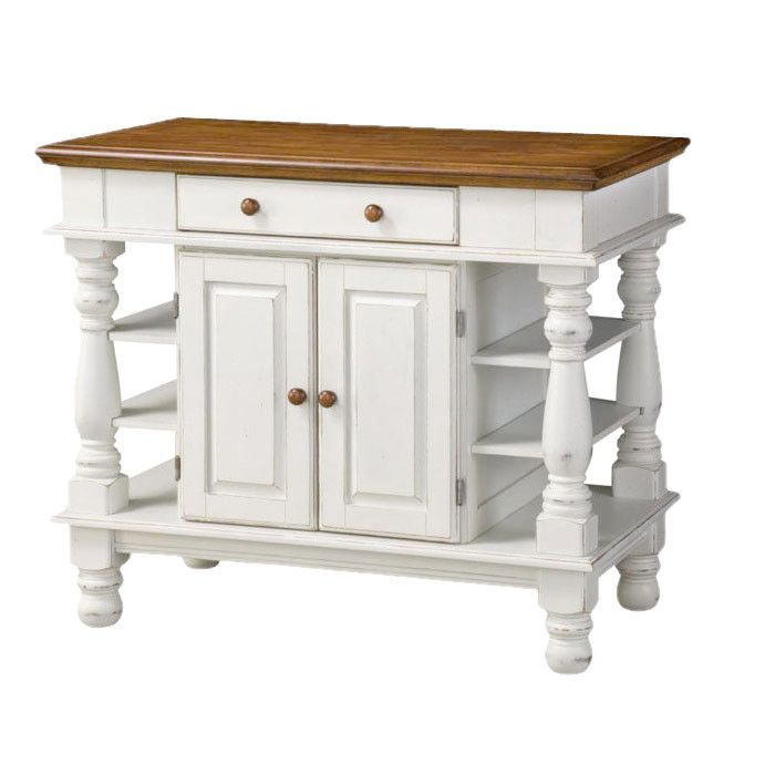 Home Styles Americana White Kitchen Island With Drop Leaf: Features: -Rustic Design. -Recessed Door Panels. -Easy