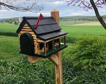 Photo of Wooden Log Cabin Mailbox | Unique Outdoor Decor | Amish Made | CL620
