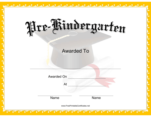 this mortarboard pre-k certificate features a mortarboard, tassel