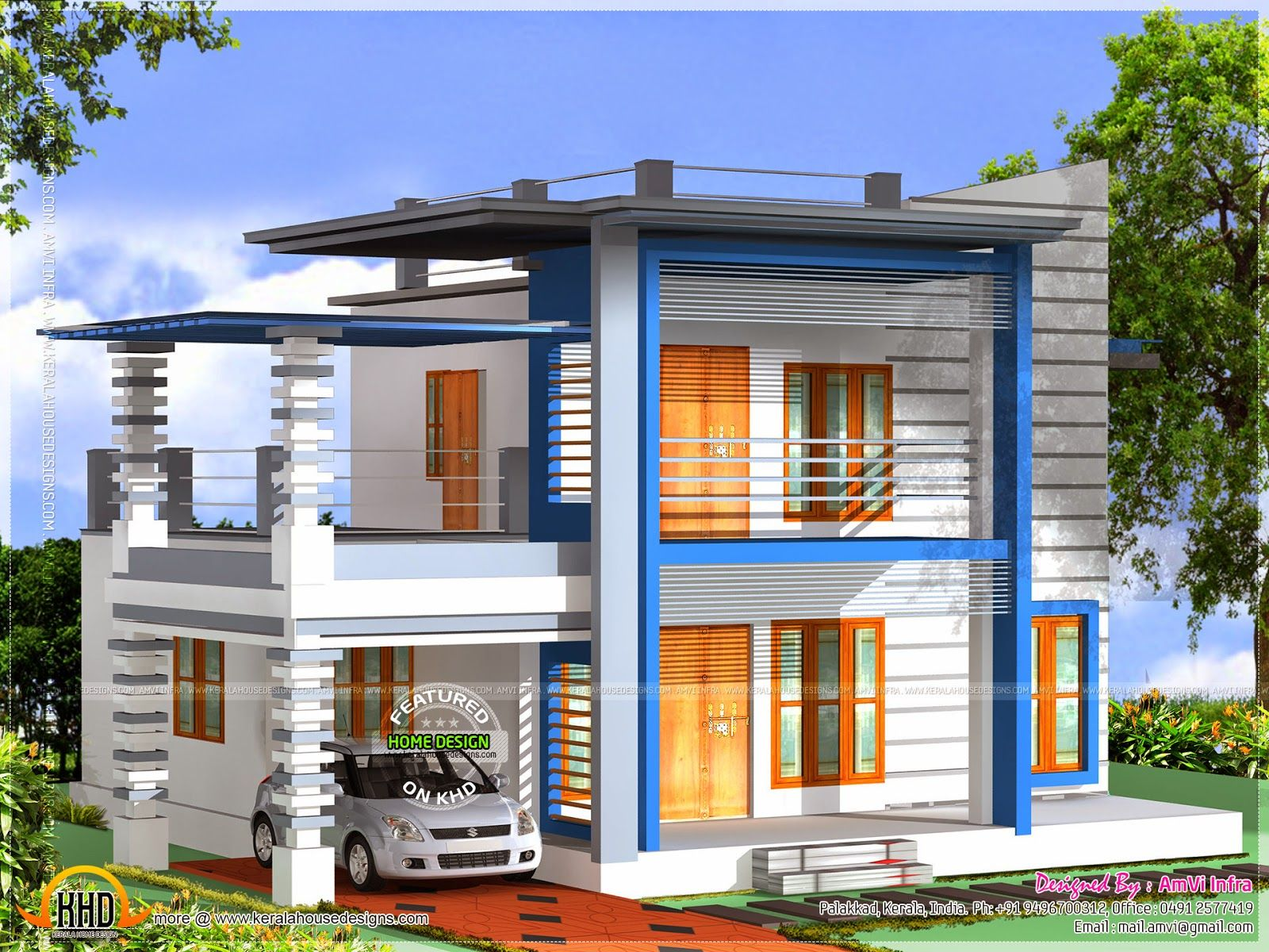 3d view with floor plan Simple house design, Kerala