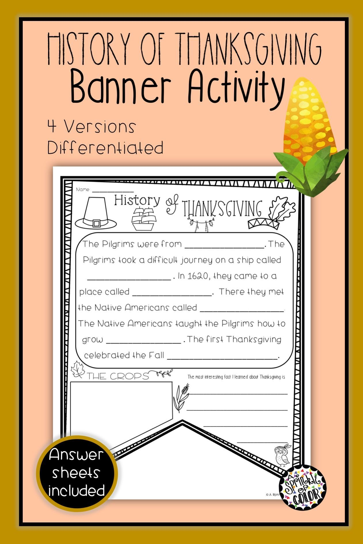 History Of Thanksgiving Bunting Banner Activity