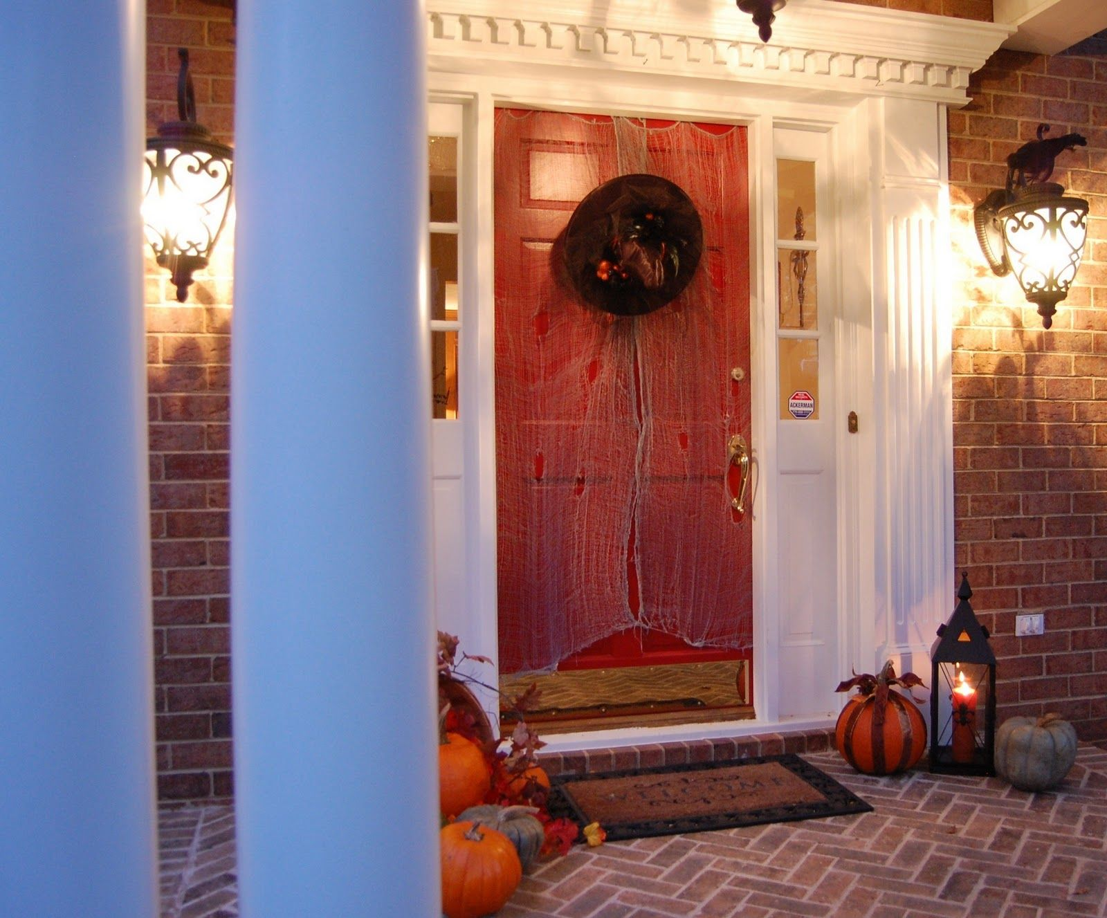 Front Porch Decorated for Halloween Front doors, Halloween front - halloween front door decor