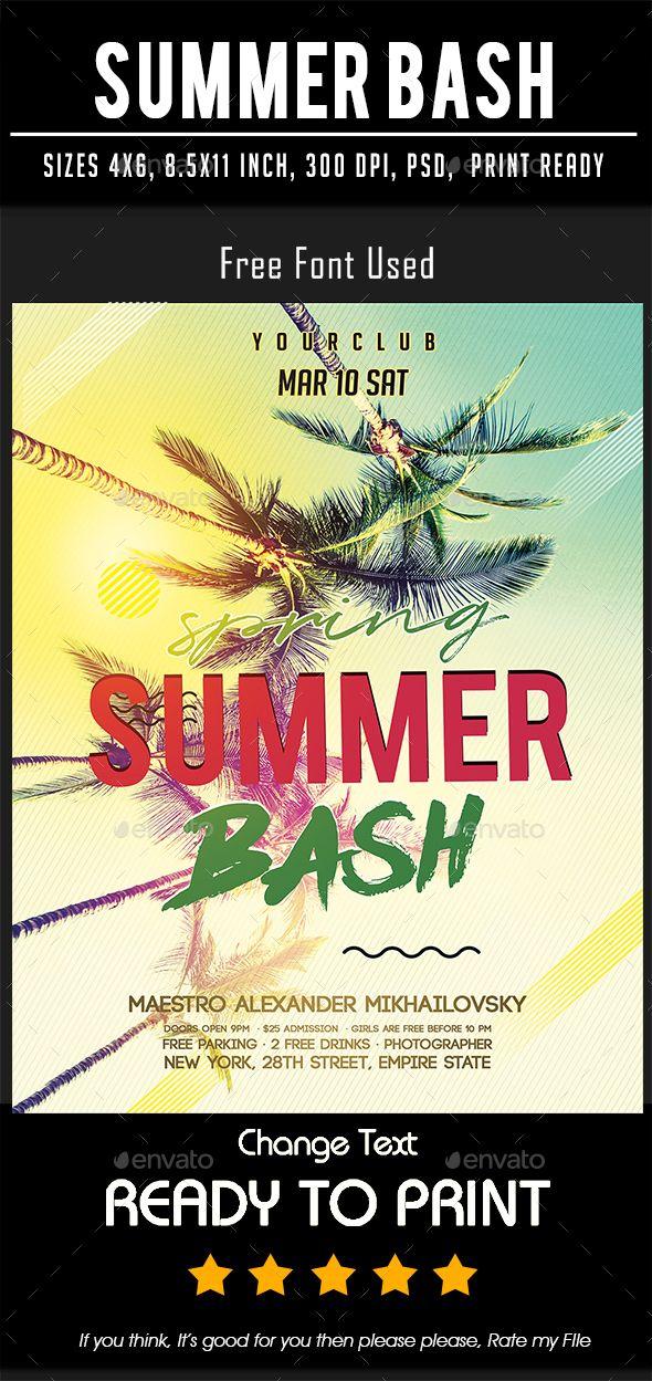 Summer Bash Summer bash, Graphic design print, Free typeface