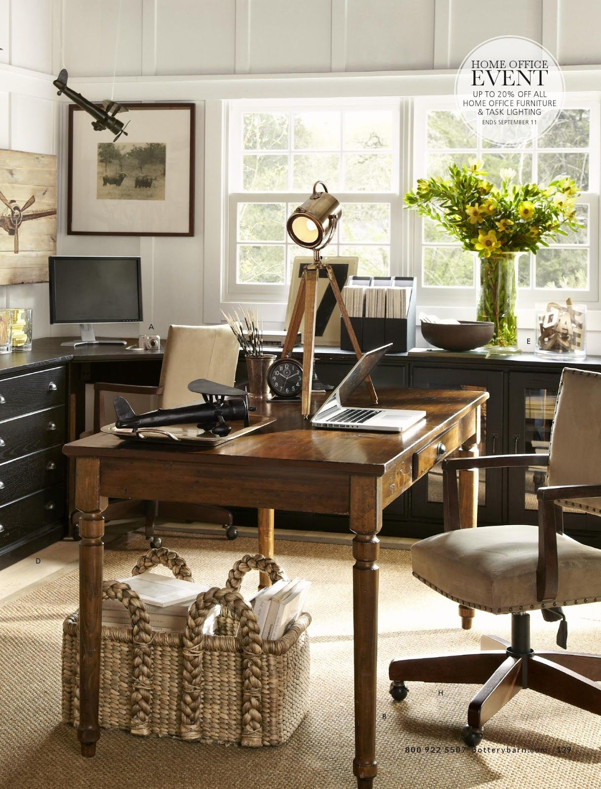 Pottery Barn home office farmhouse table as desk and wall