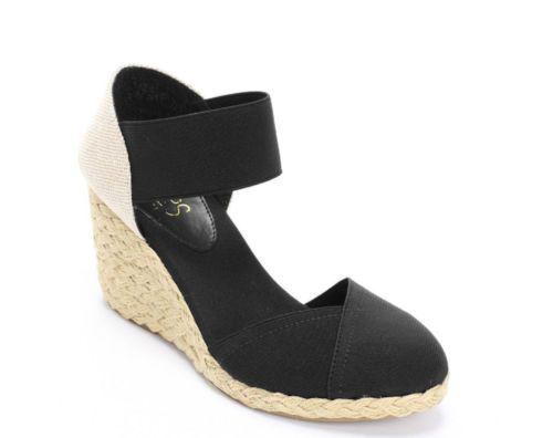 3d2b28d1a4f0 Chaps Womens Wedges Sandals Black Elastic Espadrilles size 6.5 NEW