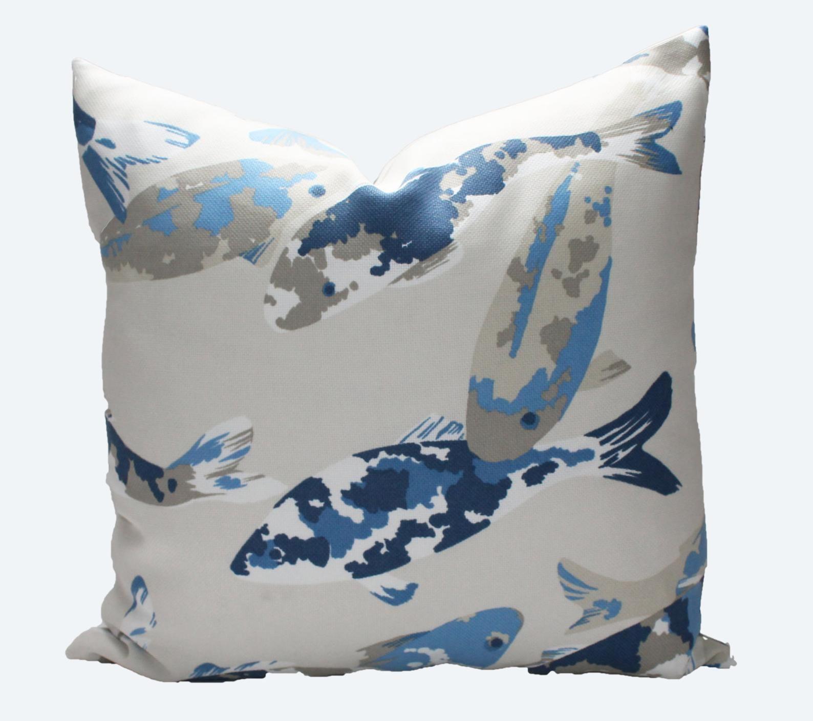 Decorative Designer Indoor Outdoor, Koi Fish, Blue, Taupe